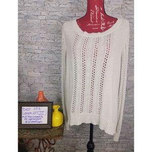 Apt 9 Open Weave Light Gray Crewneck Sweater sz XL
